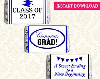 Class of 2017 Graduation Printable Mini Candy Bar Wrappers, Hershey Minis Chocolate Bar Labels, DIY Grad Favors, Blue and Black, Digital