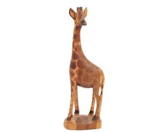 Vintage Wooden Giraffe Hand Carved Hand Kenya Painted African Decor Safari Theme Den Nursery children Room