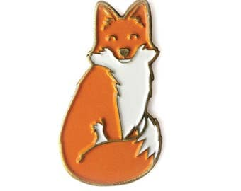 Happy Fox Enamel Lapel Pin, Red Fox pin, Cute pin, lapel pin