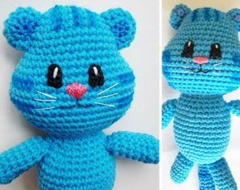 Tiger doll blue tiger doll - handmade doll stuffed animal Amigurumi