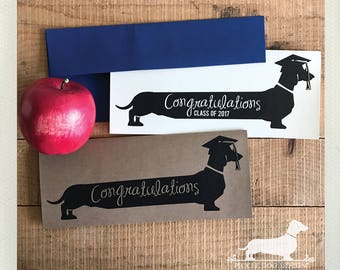 Long Doxie Grad. Note Card -- (Graduation Card, Class of 2017, Congrats Grad, Graduate, Dog, Dachshund, Vintage-Style, Weiner Dog, Rustic)
