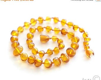 CHRISTMAS SALE Baltic amber baby teething necklace honey rounded amber beads