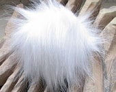 Detachable Fur pom pom, Faux Fur Pom Pom for Knit Hat, White Fur Bobble Made in Poland