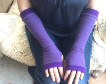 Cashmere Fingerless Gloves in lavenders, Cashmere Arm Warmers, Womans Fingerless Gloves
