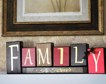 Family Wood Blocks, Family is Everything, Custom Wood Block Decor, Rustic Home Decor, Family Wood Sign, Wood Block Decor, Gift Idea