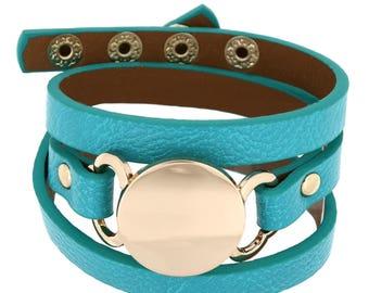 Modern Trendy Adjustable Snap Button Personalize Engraved Fashion Wrap Around Leatherette Bracelet