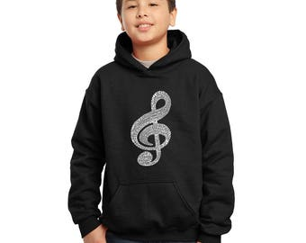 Boy's Hooded Sweatshirt - Created using a list of the most popular classical music composers of all time Music Note