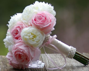 Peony Rose Silk Wedding Bouquet Pink White