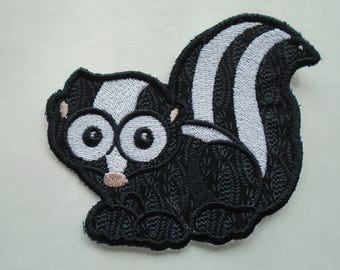 Wide eyed Forest Friends skunk iron on or sew on applique patch