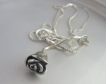Sterling Silver Rose pendant - Silver Flower Handmade jewelry