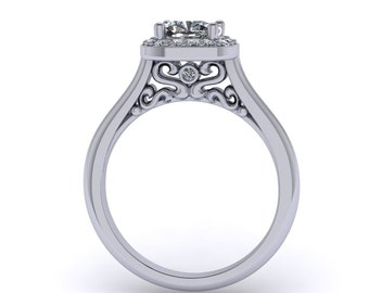 Cushion Moissanite engagement ring, with diamond halo in 14k white gold, custom rings, custom made rings, style 181WDM