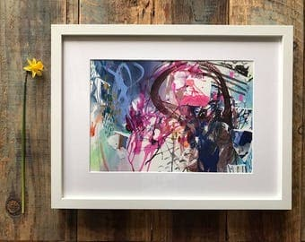 Abstract Art, Blue Pink Expressionist Painting Mixed Media on Paper