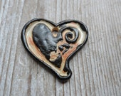 Pottery Pendant  Rustic Bohemian Heart