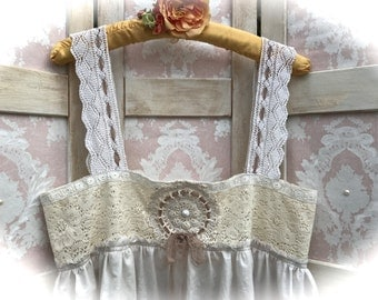 Izzy Roo Sweet Tea Storybook Cami Top Burnt Sugar Laces Crocheted Details Shabby Chic Sweet Size Large
