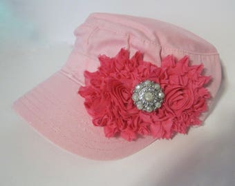 Youth Toddler Pink  Cadet Cap with Bright Pink Chiffon Flowers and Matching Accent  Baby Hats Youth Caps Girls Accessories Hats
