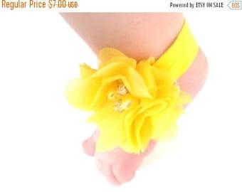 HALLOWEEN SPECIAL SALE Yellow Baby Barefoot Sandals - Baby Photo Prop