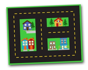 printable play mat, town playmat, cars and roads, digital file, pdf, instant download, pretend play, travel toys