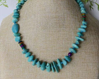 21 Inch Chunky Southwestern Turquoise Nugget and Mother of Pearl Necklace with Earrings