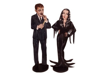Morticia and Gomez Hand Painted 2D Art Figurines