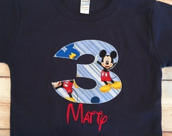 "Mickey Mouse Birthday Shirt - Age ""1,"" ""2,"" ""3"", ""4"", ""5"", or ""6"" - Birthday Boys - Boy Birthday Outfit"