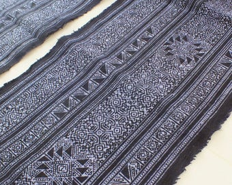 Handprinted cotton Vintage Style fabrics,  Indigo Blue, Hmong, Table runner- from Thailand