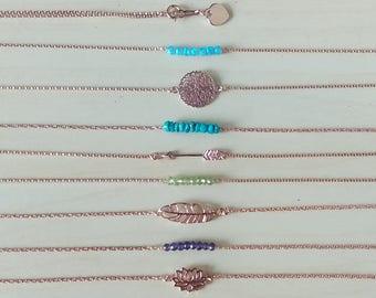 Rose gold filled bracelet - Feather Arrow Lotus Heart Filigree - 14K gold filled chain - Gemstones bracelet - Everyday minimalist jewelry