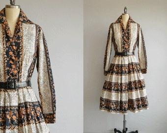 Vintage 1960s Dress / 60s Tori Richard Floral Print Stripe Shirtdress Pleated Skirt / I Magnin Novelty Print Cotton Dress