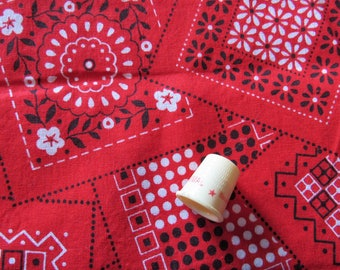 red bandana print cotton fabric -- 42 wide by 41 inches