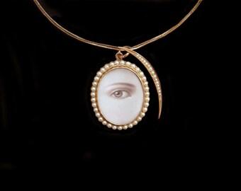 Sandra Hendler - Reserved For Jennifer-Next Payment-Original Miniature Lover's Eye   Painting in Lovely 15K Antique Locket w Luminous Perals