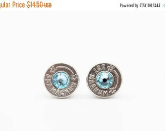 30% OFF SALE Bullet Earrings . 357 Magnum Nickel Plated Brass  . March Aquamarine