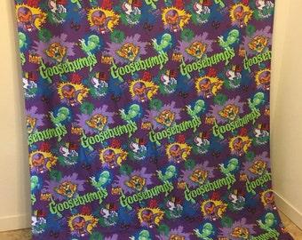 Vintage Bed Sheet, GOOSEBUMPS bed sheet, Goosebumps Books, Goose Bumps Fabric, Twin Flat Sheet