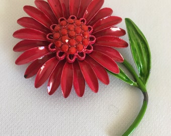 Vintage Metal Flower Brooch, Vintage Red Flower Brooch, Vintage Flower Pin, Metal Flower Pin