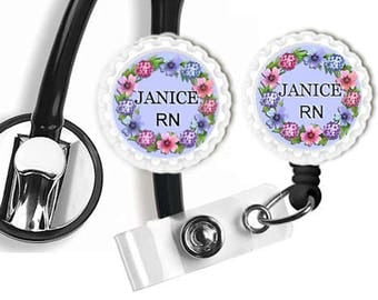 Retractable Badge Reel,Stethoscope ID Tag Set or Buy Separate,Nurse Accessory,Teacher Name Tag,Hospice Nurse,Medical Accessory,Job Name Tag