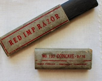 Vintage Straight Razor BOX ONLY Red Imp Cardboard No 133 Concave