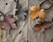 Leaf Necklace, Leather Leaf Pendant - Realistic Artisan Handcrafted, Maple, Oak - Choose Your Leaf
