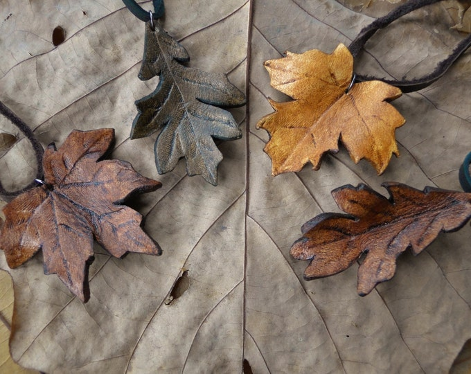 Leaf Necklace, Leather Leaf Pendant - Realistic Artisan Handcrafted, Maple, Oak - Choose Your Leaf
