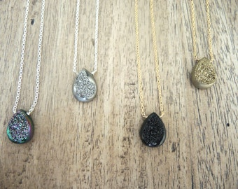 Druzy Necklace, Agate Window Druzy Necklace, Sterling Silver Necklace, 14K Gold Filled Necklace, Druzy Stone Necklace, Jewelry Gifts For Her