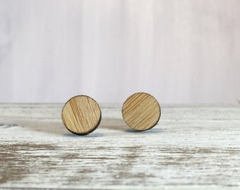 Round Bamboo Earrings // Geometric // Hypoallergenic  // Wood Jewelry //