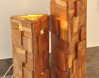 wooden floor lamp teek wood set of 2 lamps