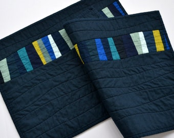 Blue Placemats, Modern Table Decor, Quilted Placemats, Table Linens, Set of 2