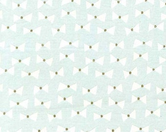 Bow Ties (Mist) - Wee Sparkle - Cotton Metallic - Michael Miller Fabrics - 1 Yard