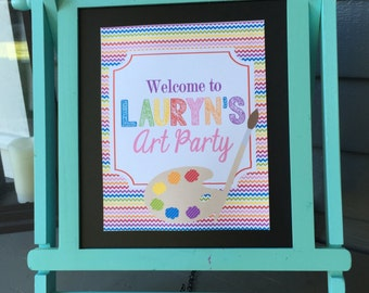 CHEVRON ART PARTY Theme Happy Birthday or Baby Shower Door or Welcome Sign - Welcome Signs Available