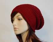 Color Choices, Crimson Red Slouch Hat, Deep Red Slouchy Beanie, Cranberry Womens Hat, Teen Slouchy Hat, Winter Hats, Mod, MarlowsGiftCottage
