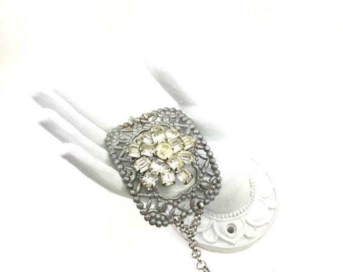 Vintage Buckle Bracelet Handmade with Rhinestone Brooch Adjustable Link