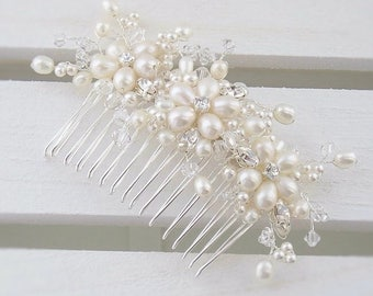 Freshwater pearl and crystal bridal comb, wedding hair comb, floral hair comb, pearl hair comb