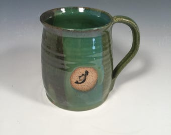 Pottery Mug -  handmade Ceramic Coffee Cup - 16 oz - ocean green - Mermaid stamp - ready to ship - ceramics - pottery - stoneware
