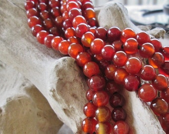 """10 MM Round Carnelian Gemstone  2.5 mm Large Hole Red Agate Big Hole Bead Fit Leather 7.5"""""""