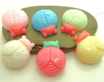 Flatback Resin Ladybug Cabochons - 6pcs - Assorted Colors - 18x15mm - BP2