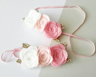 Baby/ Girl Three Rose Bloom Crown Headband, Cream, Blush and Pink. Can be made in ANY Colour. Grat for All Ages.