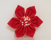 Christmas Red Gold Dots Dog Collar Flower Made to Order